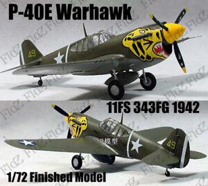 WWII P-40 E Warhawk 11FS 343FG 1942 1/72 finished plane Easy model