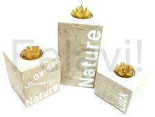 3x Teelichthalter Kerzenhalter Kerzenständer Gartendeko Stein Dekostein (F11)