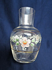 Vintage Hand Painted Clear Glass Vase  rb36