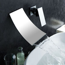 Widespread Bathroom Bath Basin Sink Faucet Waterfall Chrome Brass Wall Mount