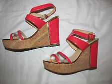 IVANKA TRUMP HAGLEY coral patent vegan sandals cork wedge clear section shoes 10