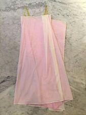 ISSEY MIYAKE WHITE/PURPLE PINK COTTON SUN DRESS w YELLOW RUBBER BRA STRAPS- SZ M