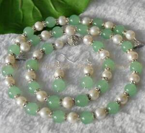 9-10mm Genuine White Cultured Pearl Natural Green Jade Necklace Bracelet Earring
