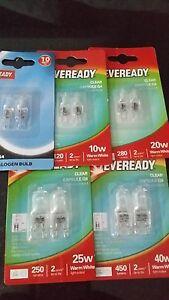 PACK EVEREADY HALOGEN CLEAR CAPSULE 10W 20W 25W  40W 50W G4 G6.35  BRANDED BULB