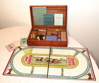 antique gambling gaming playing cards chess lead horse racing wood box set