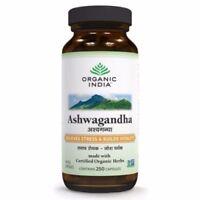 Organic India Ashwagandha 250 Capsules Bottle improve memory Stress Relieving IU