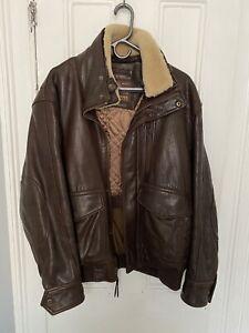 Andrew Marc New York Mens Bomber Jacket XL Brown Leather Sheepskin Collar