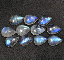 Natural White Rainbow Moonstone Blue Fire Pear Cab Lot 56.00 Cts 11 Pcs Gemstone