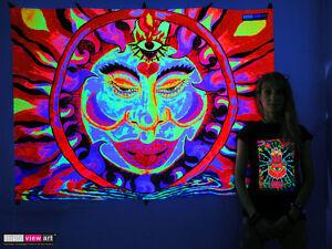 TIBETAN SUN Psychedelic Art UV Black Light Tapestry Wall Hanging Backdrop Deco