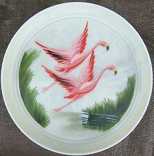 Vintage Pink Flamingo Scene Painted Plastic Serving Tray Platter Raised Edge 60s