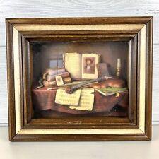 Vintage 3d Shadow Box wall art violin wood frame
