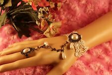 Steampunk White Lace and Faux Pearl Cabochon Slave Bracelet w/attached Adj Ring
