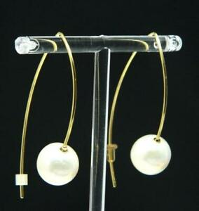 "White Akoya Pearl 13mm Pierced Drop Hook 14K and 10K Yellow Gold 1.86"" Earrings"