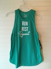 Old Navy Active Women's sleeve Tank Green Run Rest Repeat  Size XS New w Tags
