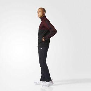 NEW ADIDAS MEN'S BQ8357 3 STRIPES TRACK SUIT BLACK MAROON JACKET PANT SET W/TAGS