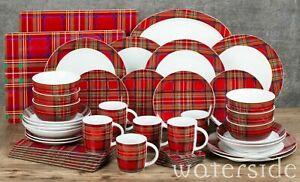 45 Piece Porcelain Dinner Set Soup Dessert Plate Pasta Bowls Mugs Dining Set Red