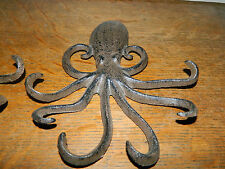 "Set/2 Heavy Octopus Cast Iron 7"" Towel Hanger Coat Hooks Hat Hook, Key Nautical"