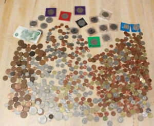 LARGE Job Lot of 4KG UK & FOREIGN Unsorted COINS & BANKNOTES Various Eras-254