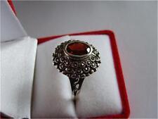 Vintage Genuine 1CT Garnet & Marcasite Sterling Silver Ring