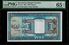 Mauritania 1000 Ouguiya 2002 Pmg 65 Epq Unc Pick # 9c Wmk:Old Man