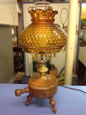 VINTAGE WOOD BASE TABLE LAMP 3 LEGGED MILKING STOOL W/ AMBER HOBNAIL GLASS SHADE