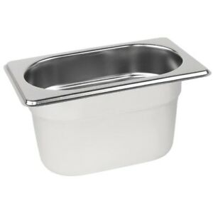 Stainless Steel 1/9 Size Gastronorm Pan Bain Marie Pot Choose Depth
