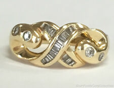Estate Jewelry 0.40 Ctw Diamond Twist Ring 14K Yellow Gold Band Size 7