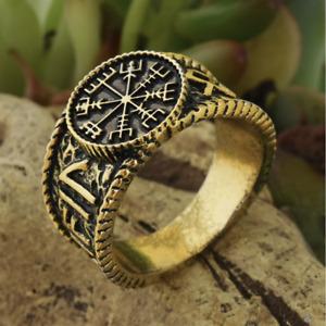 Viking Ring Vegvisir Rune Compass Norse Nordic Bronze