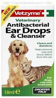 Vetzyme Antibacterial Ear Drops & Cleanser 18ml - Veterinary Cat Dog Ear Cleaner