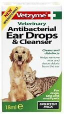 Vetzyme Antibacterial Ear Drops & Cleanser 18ml - Veterinary Cat Dog Ear Cleaner