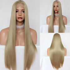 Blonde Lace Front Wig Straight Long Synthetic Heat Resistant Hair Layered Wigs