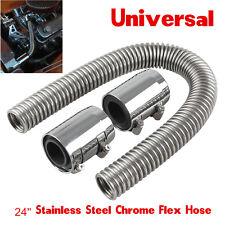 "24"" Flexible Stainless Steel Upper or Lower Radiator Hose Kit with Chrome Caps"