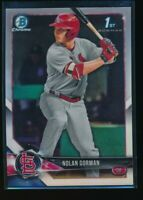 NOLAN GORMAN 2018 1st Bowman Chrome Draft REFRACTOR Cardinals Rookie Card RC