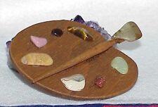 Vintage Handmade Artist Paint Pallet Brush Wooden Colorful HUGE Pin Gemstones