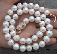 kultiviert 10-11mm weiße Süßwasser-Perlenkette 17 zoll + leopard kopf verschluss