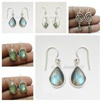 Blue Labradorite 925 Sterling Silver Dangle Earrings Women Mothers Day Gift