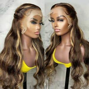 Highlight Body Wave Ombre Lace Frontal Human Hair Wigs Brazilian Remy Hair Wigs