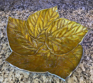 "Stunning & Rare Mariposa Cast Aluminum/Enamel 15"" Leaves Centerpiece ~ NEAR MINT"