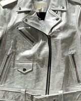 MKors Woman's Silver Crinkle Leather Jacket