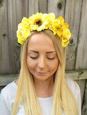 Yellow Rose Orchid Sunflower Flower Garland Headband Hair Crown Floral Boho 1920