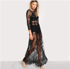 Vicidolls Black Sheer Floral Lace Maxi Dress High Waist - size M