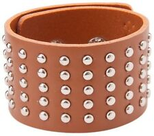 BROWN LEATHER RIVET WIDE WRISTBAND STUDDED BRACELET CUFF MENS WOMENS A24