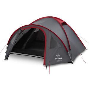 Campingzelt JUSTCAMP Scott 4 Mann Zelt Igluzelt Kuppelzelt für 4 Personen grau