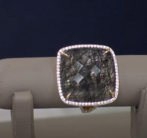 Rarities Carol Brodie BLACK TOURMALINATED QUARTZ & White Zircon  Ring 7 NWT