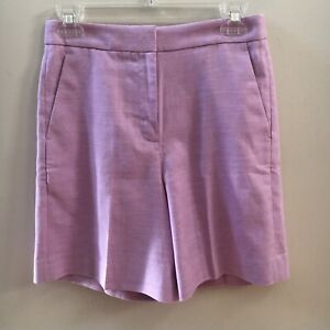NWT J Crew Women's High Rise Bermuda Stretch Linen Blend Lilac Shorts Size 0