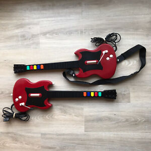 LOT OF 2 RED OCTANE GUITAR HERO WIRED GUITAR model PSLGH - Playstation 2 PS2