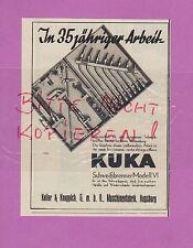 AUGSBURG, Werbung 1936, Keller & Knappich GmbH Maschinen KUKA Schweiß-Brenner