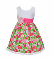 New Girls Cotton Dress in Pink Dots Pink Watermelon 18 24 Months 2 3 4 5 6 Years