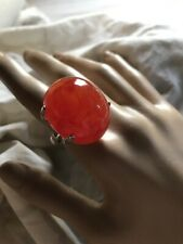 Giant Red Cabachon Stone Marble Looking Vtg Ring-NEW- Sz7