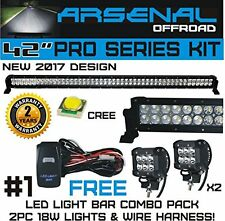 "No.1 42"" 240W CREE Combo Offroad LED Light Bar +18W Spot LED Light 2 Wiring Kits"